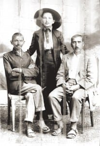 Gandhi, Sonia Schlesin and Hermann Kallenbach, 1913. This photograph was carried by Kallenbach to England folded and stitched into the collar of his suit, as he was afraid to get it confiscated, due to his German origin.