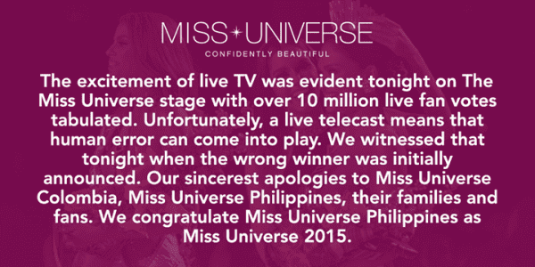 Embarrassing Moment on Miss Universe 2015 Final 5