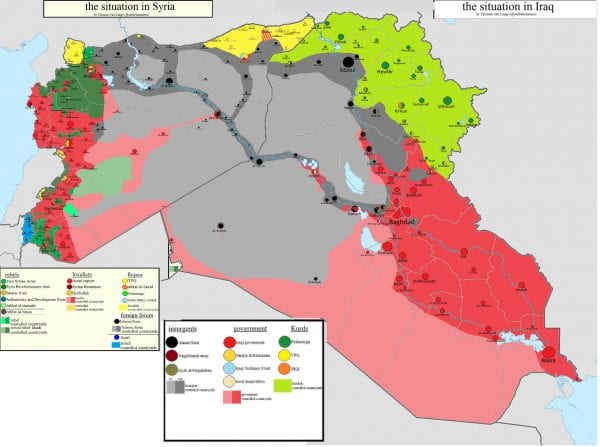 The Iraqi and Syrian Civil War as on 15th January, 2015. The grey areas are under IS control.