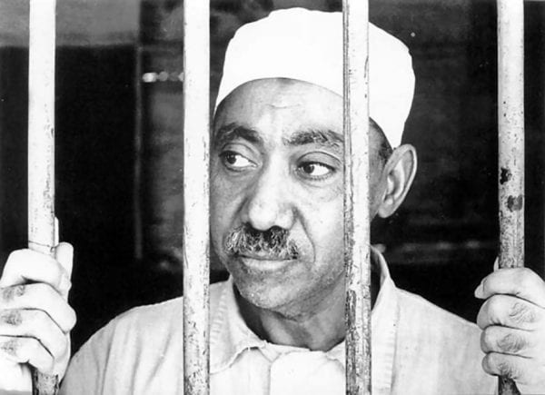 Sayyid Qutb in an Egyptian prison; he was charged and found guilty for ploting the assassination of Ghamal Abdel Nasser, the first President of Egypt.