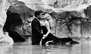 The most iconic scene in cinema history; Anita Ekberg and Marcello living a momentary fantasy beneath the Trevi Fountain