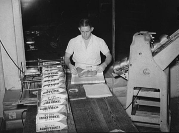 Wrapping bread slices at a factory in San Antonio, Texas