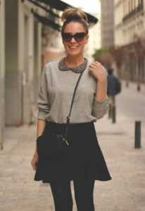 Classic-black-skirt-outfit-idea-for-spring-2014-grey-sweater-shirt-and-skirt
