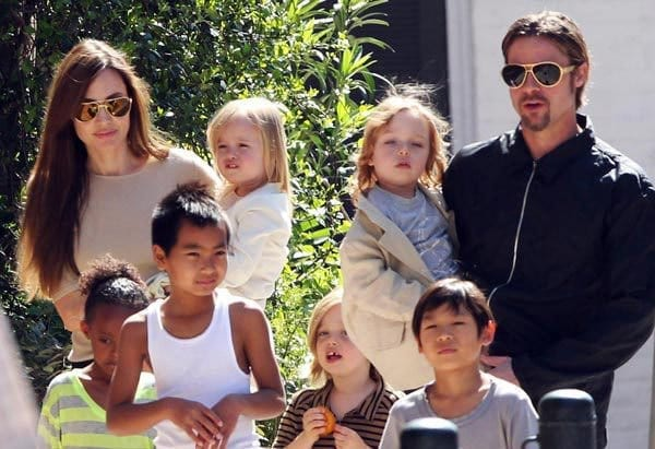 Angelina, Brad and their kids