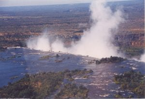 The spray from Victoria Falls